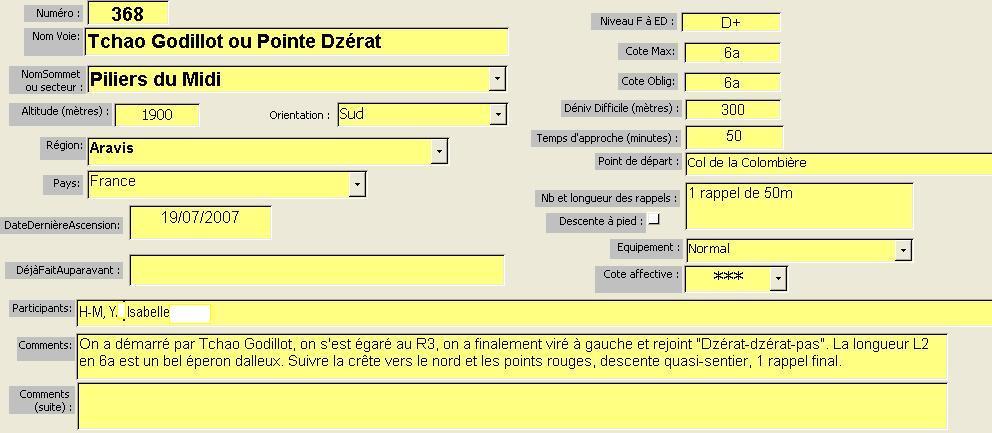 Tchao Godillot ou Pointe Dzérat, Piliers du Midi, Aravis