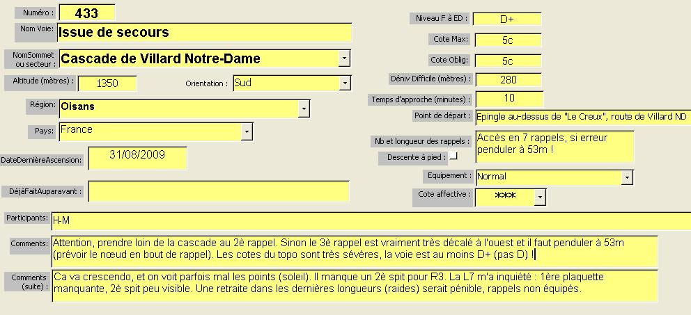 Voie Issue de secours, Cascade de Villard Notre-Dame