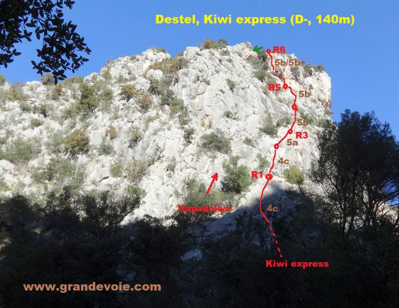 Gorges du Destel, voie `Kiwi express`, Provence (Toulon)