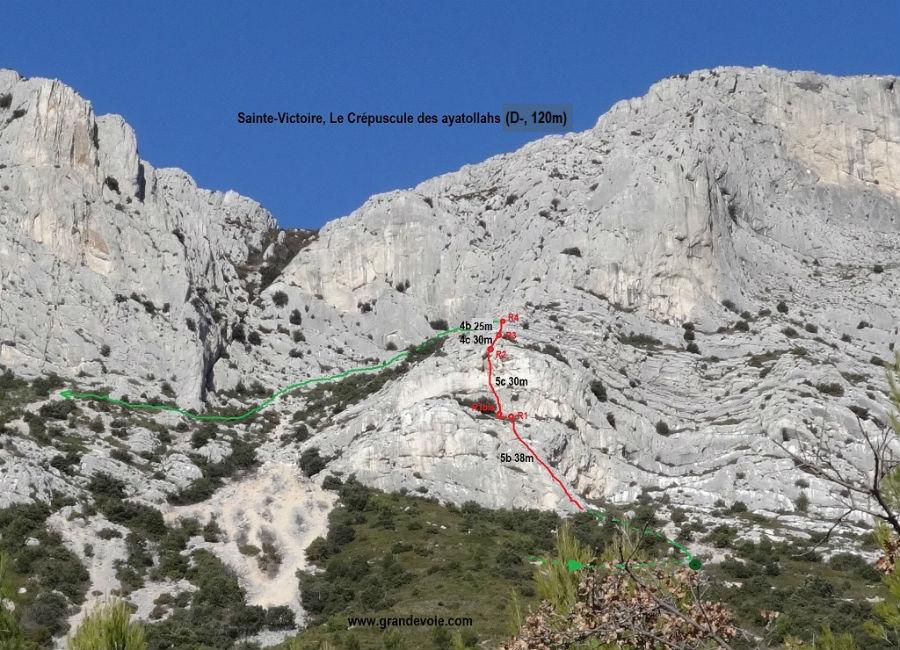 Sainte-Victoire, voie `Le crepuscule des ayatollahs`, Provence